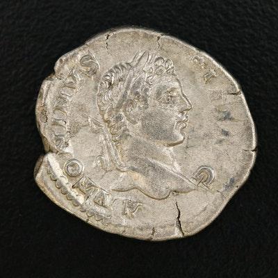 Ancient Roman AR Denarius of Caracalla, ca. 207 AD