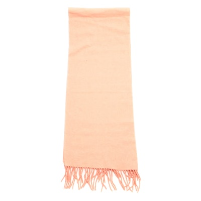 Chloé Two-Tone Coral Pink Cashmere Fringed Scarf