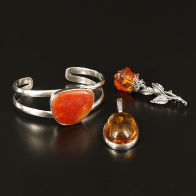 Barse Sterling Amber Cuff with Flower Brooch and Pendant