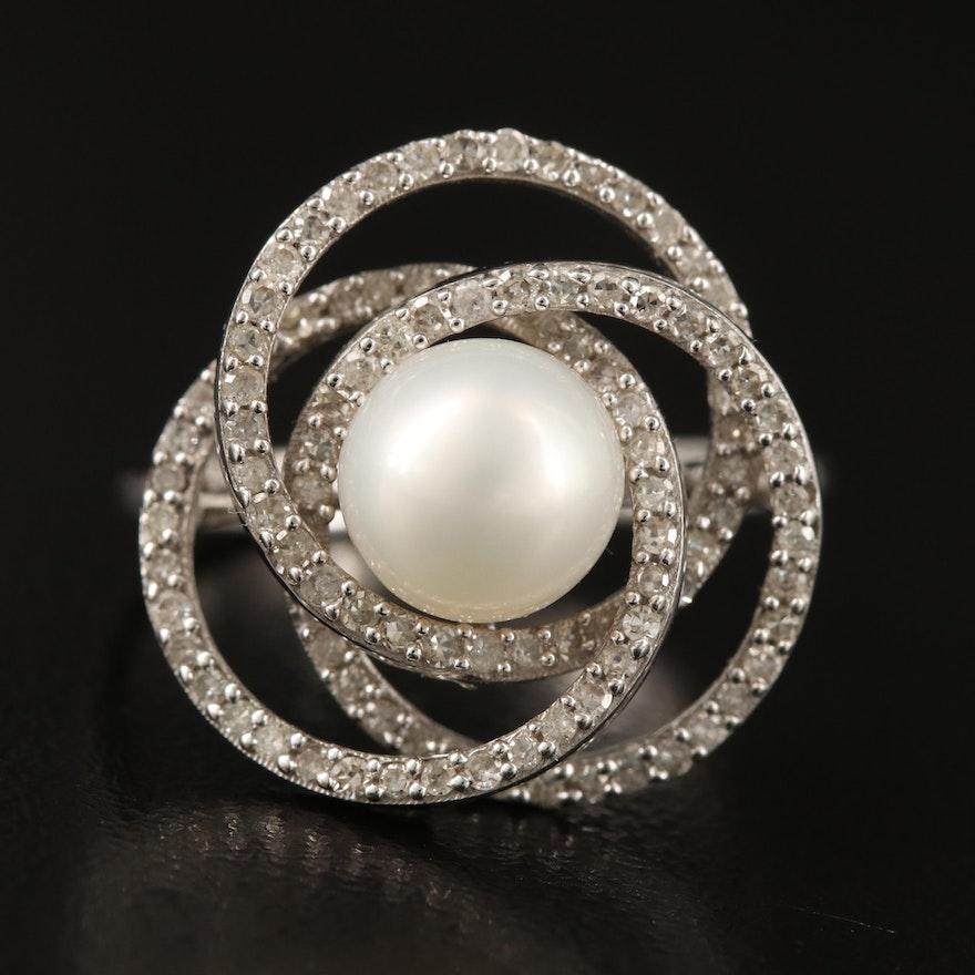 14K Pearl and Pavé Diamond Love Knot Ring