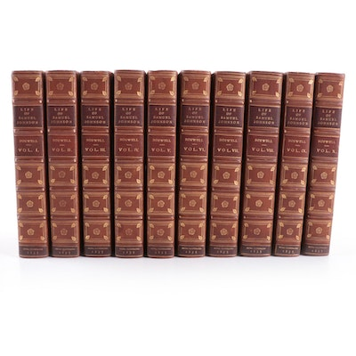 """Complete """"The Life of Samuel Johnson"""" Ten-Volume Set by James Boswell, 1835"""