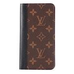 Louis Vuitton iPhone XS Max Folio Case in Monogram Canvas and Black Leather