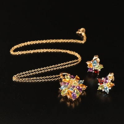 Sterling Star Earrings and Cluster Pendant Necklace Including Citrine and Perido