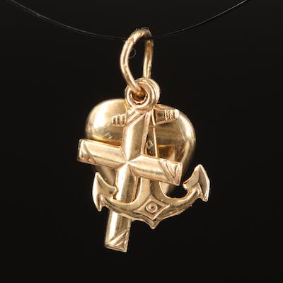 14K Cross, Heart and Anchor Pendant