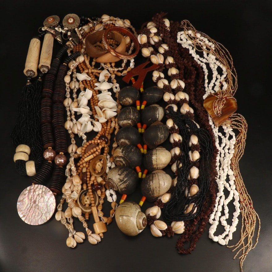 Necklaces, Bangles, Earrings and Brooch with Shell, Seeds and Bone