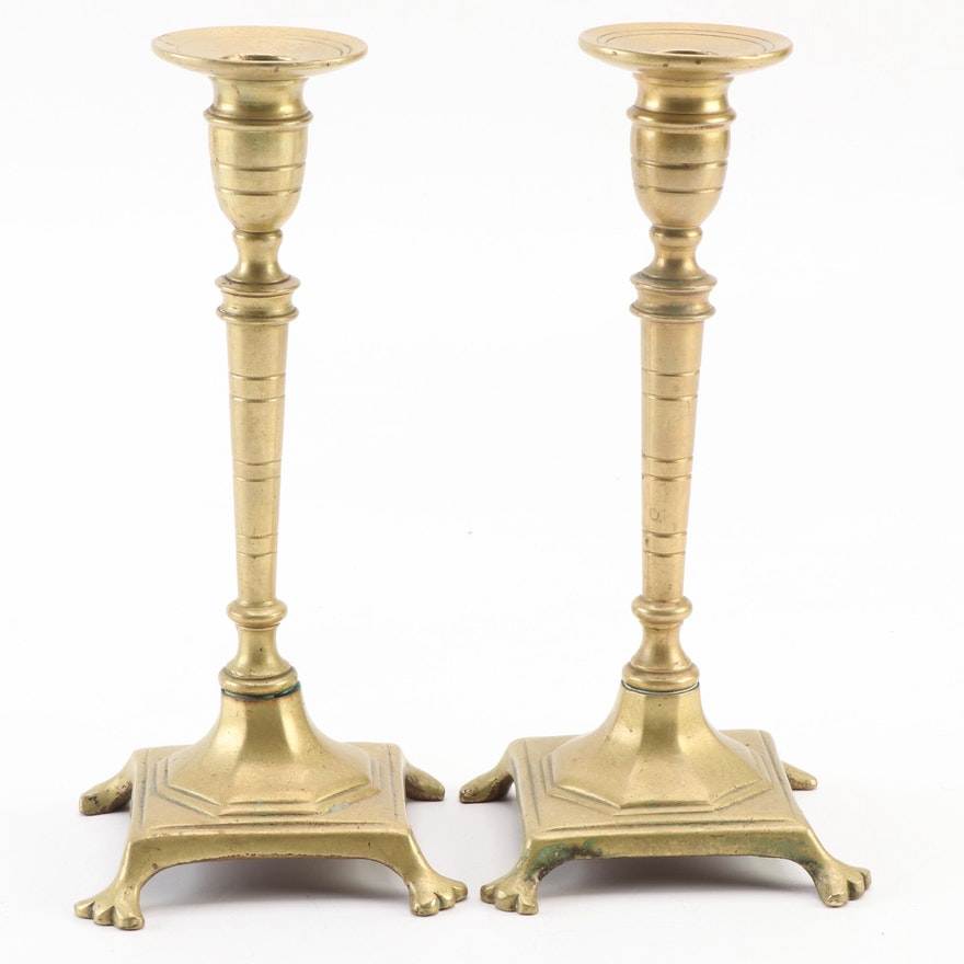 Pair of Footed Brass Candle Holders