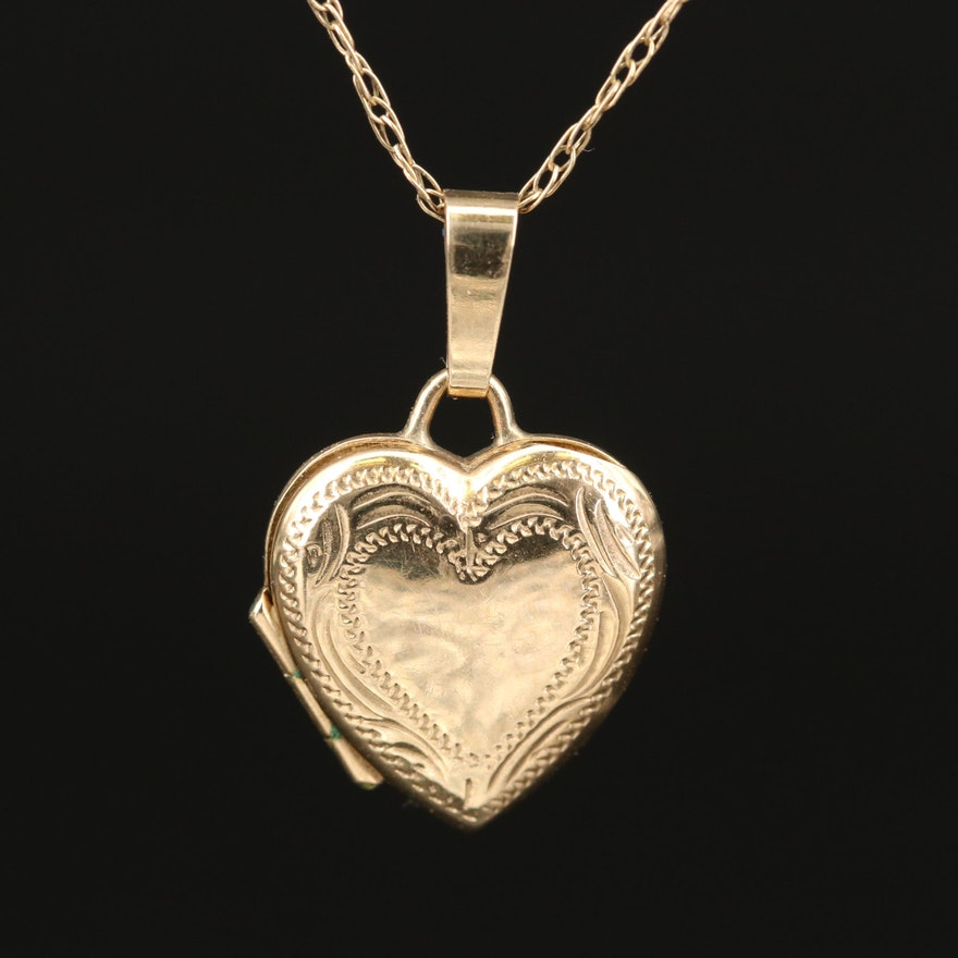 9K Heart Locket Necklace