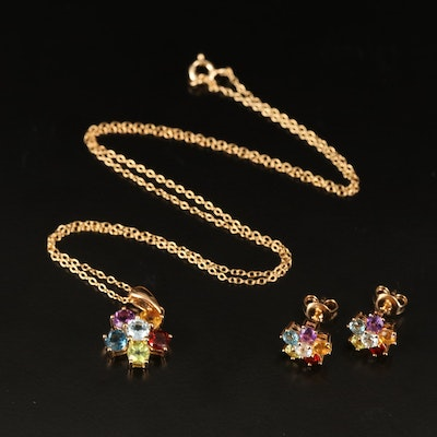 Sterling Flower Pendant Necklace and Earring Set Including Topaz and Garnet