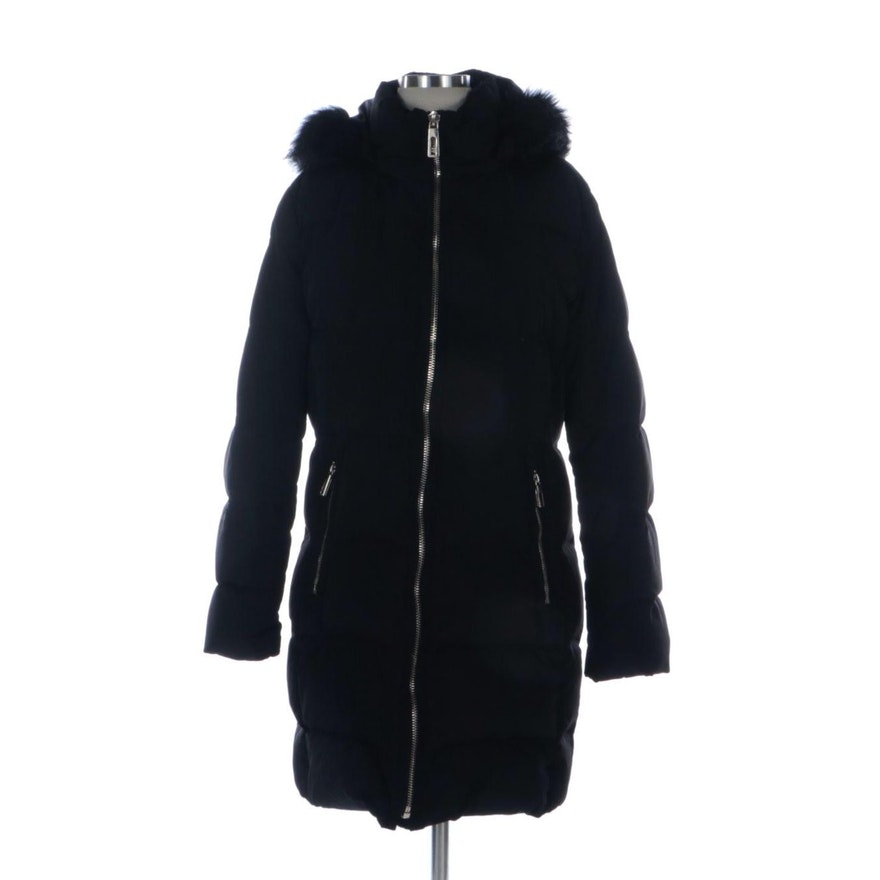 Ivanka Trump Black Puffer Coat with Faux Fur Hood