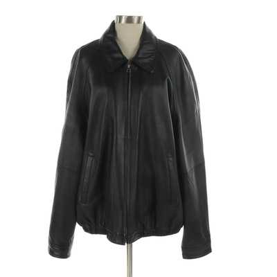 Men's Colebrook Black Leather Jacket with Raglan Sleeves