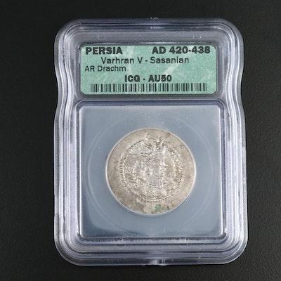ICG Graded AU50 Sassanian AR Drachm Coin of Varhran V, ca. 420 AD