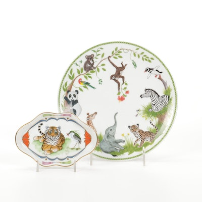 """Lynn Chase Designs Porcelain """"Jungle Party"""" Plate and """"Tiger Raj"""" Leaf Dish"""