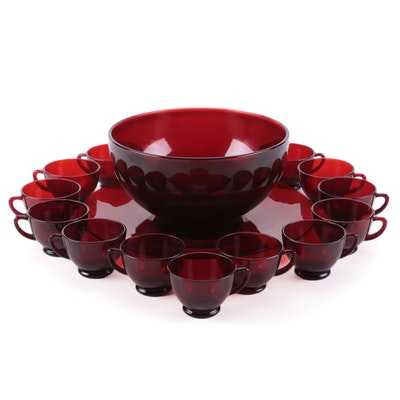 """Anchor Hocking """"Royal Ruby"""" Punch Bowl, Under Plate and Punch Cups"""