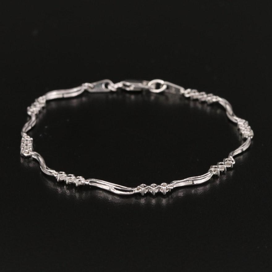 10K Diamond Wave Bracelet