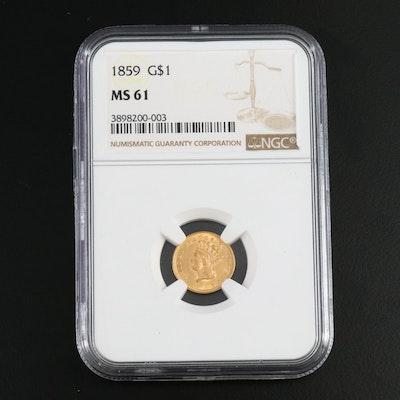 NGC Graded MS61 1859 Indian Princess Head Type 3 Gold Dollar