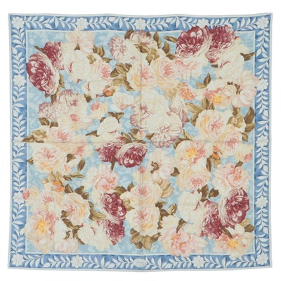 Gucci Peony Floral Print Silk Scarf