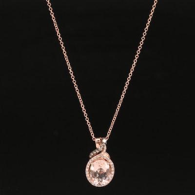 EFFY 14K Rose Gold Morganite and Diamond Pendant Necklace