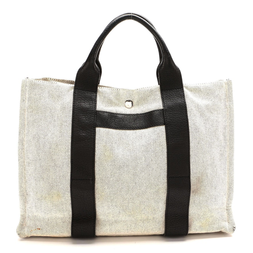 Hermès Sac Harnais MM Tote in Toile and Black Negonda Leather