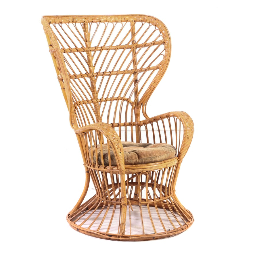 Italian Bamboo and Rattan Wingback Armchair, Mid to Late 20th Century