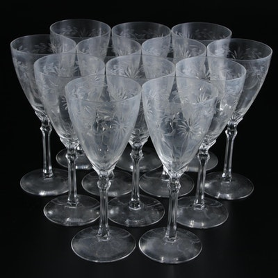 Daisy Pattern Etched Glass Goblets, Mid-20th Century