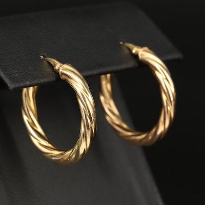 Italian 14K Twisted Hoop Earrings