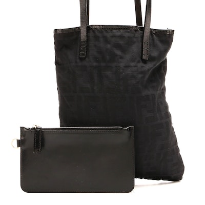 Fendi Mini Tote in Black Zucca Canvas and Leather Trim with Zip Pouch