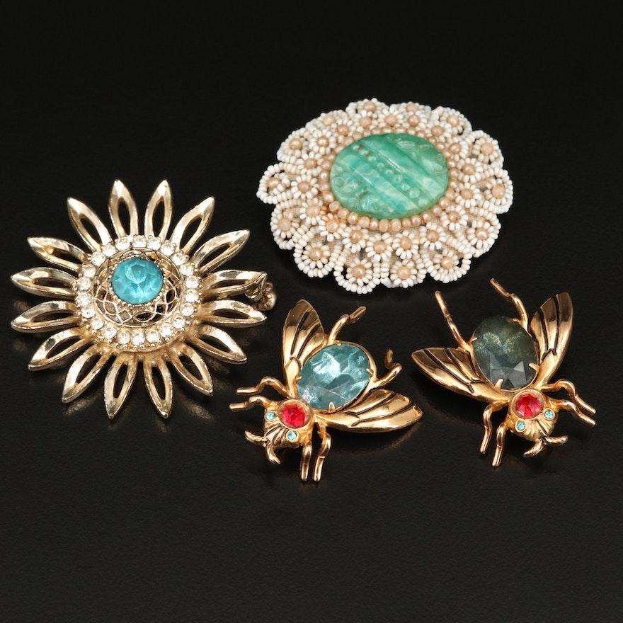 Vintage Rhinestone Brooches Featuring Coro Bees