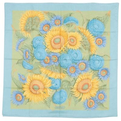 Salvatore Ferragamo Sunflower Print Silk Twill Scarf