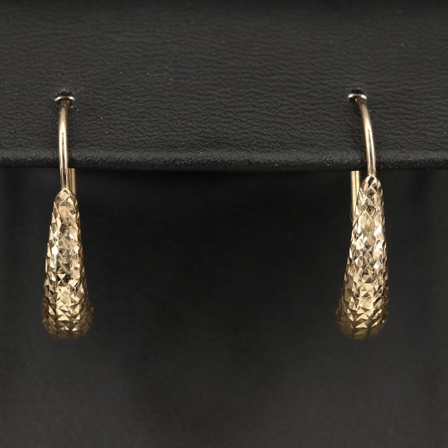14K Diamond Cut Earrings