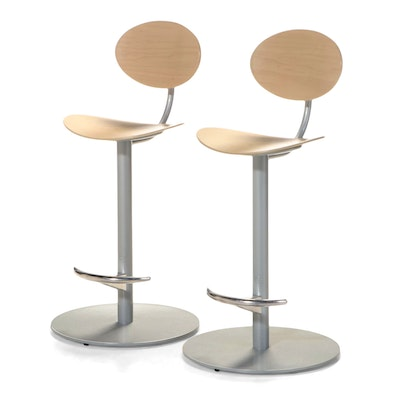 """Pair of Josep Llusca for Coalesse by Steelcase """"Enea"""" Counter-Height Bar Stools"""
