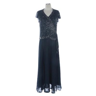 JKara New York Beaded Navy Flutter Cap Sleeve Evening Gown