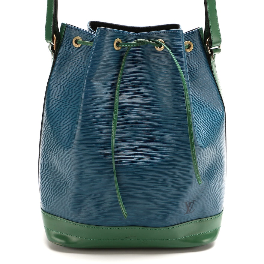 Louis Vuitton Noé Bucket Bag in Toledo Blue and Borneo Green Epi Leather