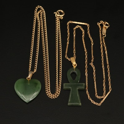 Nephrite Heart and Ankh Necklaces
