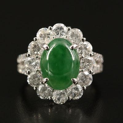 Platinum Jadeite and 2.98 CTW Diamond Halo Ring