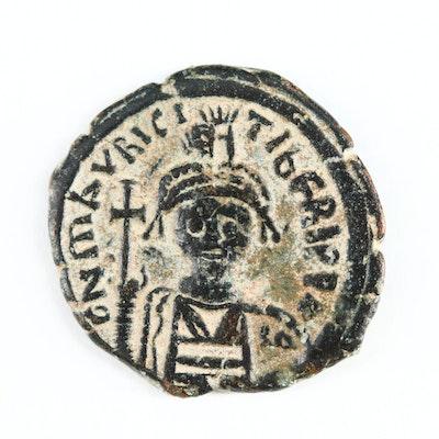 Ancient Byzantine AE Half Follis Coin of Maurice Tiberius, ca. 600 AD