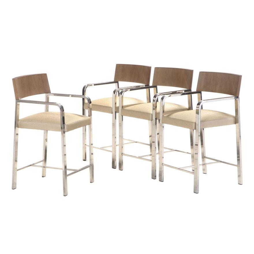 Four Cumberland Furniture Chromed Steel and Laminated Wood Bar Stools