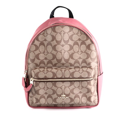 Coach Charlie Medium Backpack in Signature Canvas and Poppy Leather