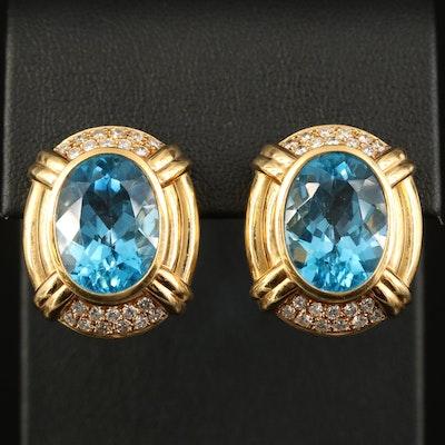 18K Topaz and Diamond Button Earrings