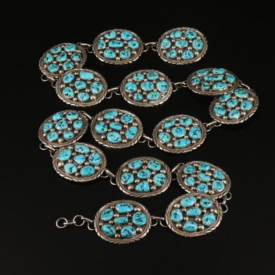 Tommy Moore Navajo Diné Sterling Silver and Turquoise Link Belt