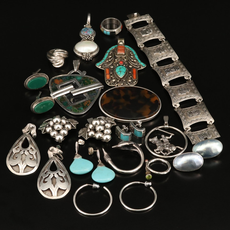 Eclectic Sterling Silver Jewelry Including Tibetan, Peruvian and Mexican