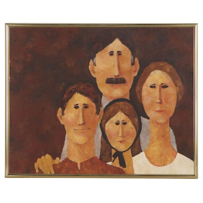 Stylized Family Portrait Oil Painting