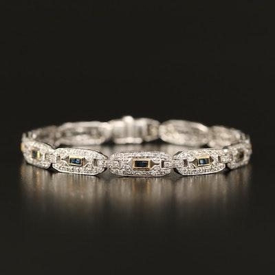 Vintage 18K Sapphire and 1.86 CTW Diamond Bracelet with Milgrain Detail