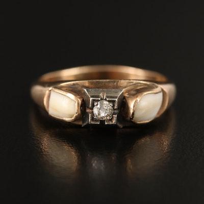Vintage 9K Diamond and Milk Tooth Ring