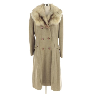 Double-Breasted Wool Blend Coat with Sew-On Fox Fur Collar