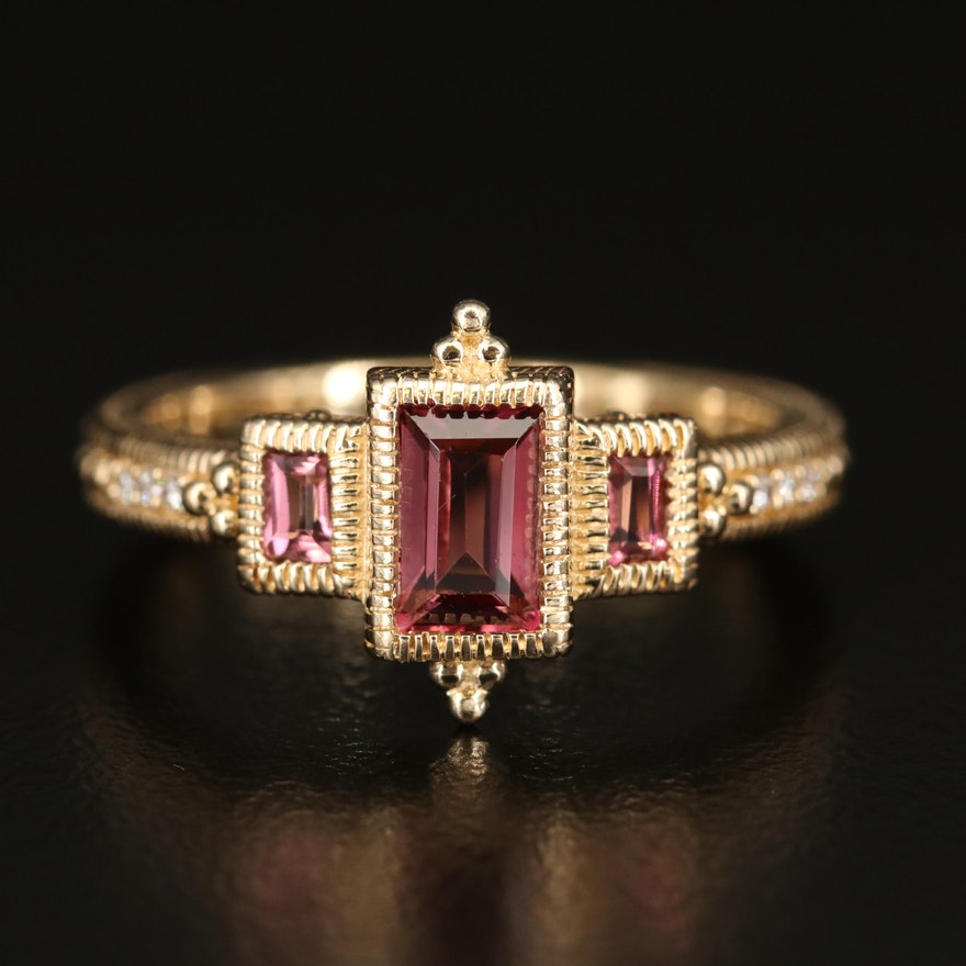 Judith Ripka Pink Tourmaline and Diamond Ring with Milgrain Details