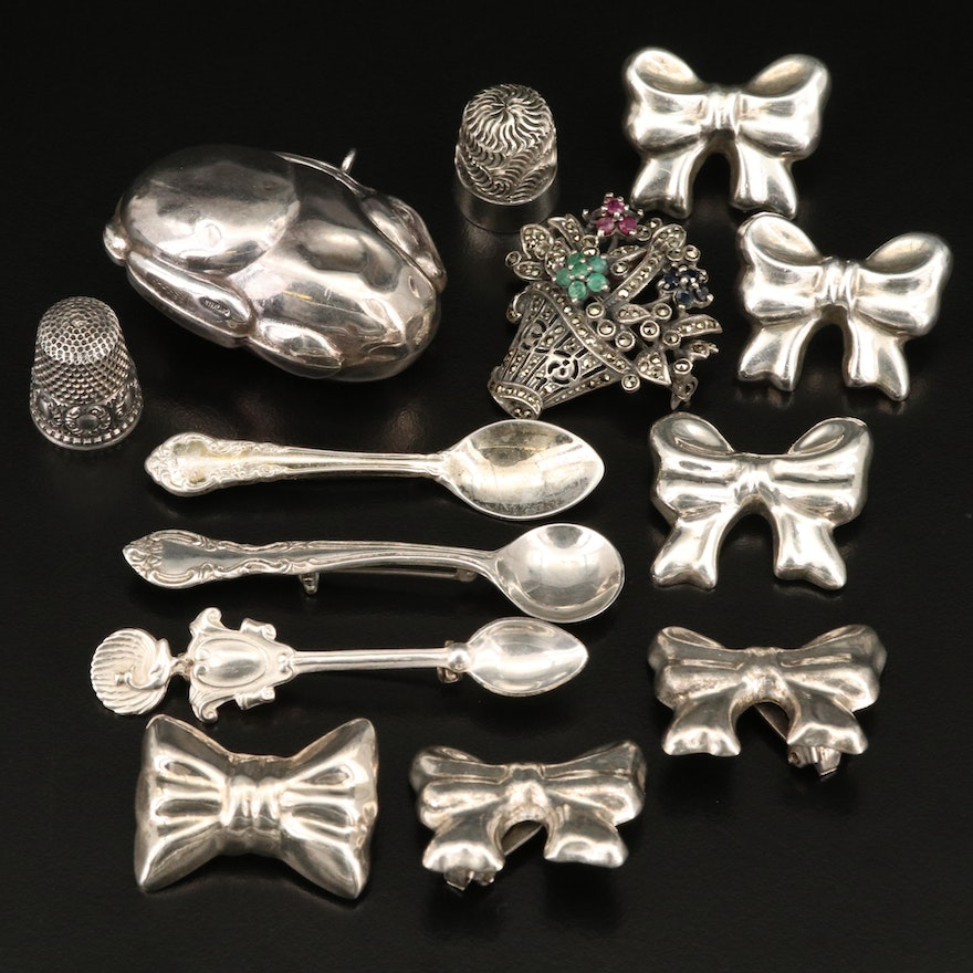 Vintage Sterling Silver Thimbles, Pins and Brooches Including Gemstones