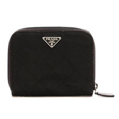 Prada Black Quilted Tessuto Nylon and Leather Zip Wallet