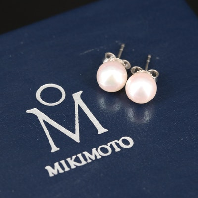 Mikimoto 18K Pearl Stud Earrings with Box