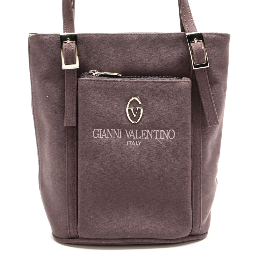 Gianni Valentino Gray Textile Bucket Bag