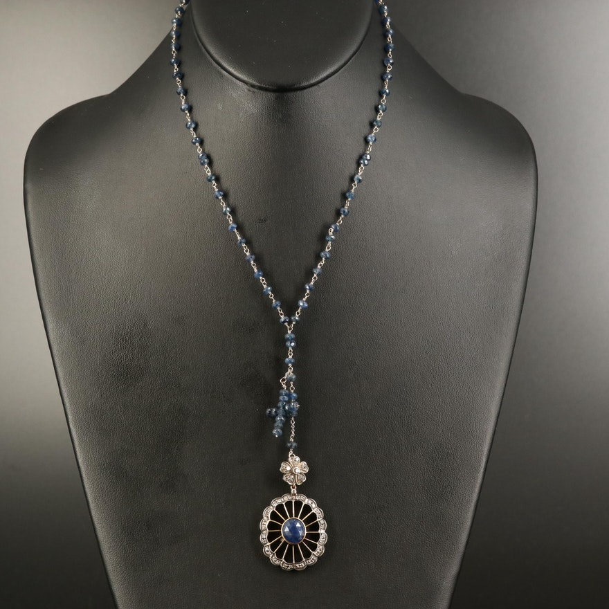 Vintage Sterling and 14K Sapphire and Diamond Necklace